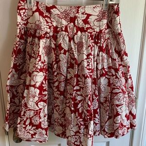 Red with cream floral  patterns